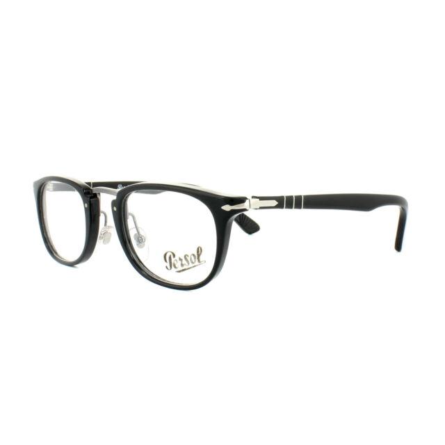 Persol PO 3126v 95 Polished Black Full Frame 50mm RX Eyeglasses Auth ...