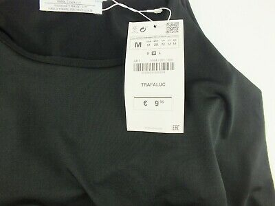 Zara x Trafaluc Black Off-Shoulder Short Sleeve Bodycon Crop Top Size S NWT A4