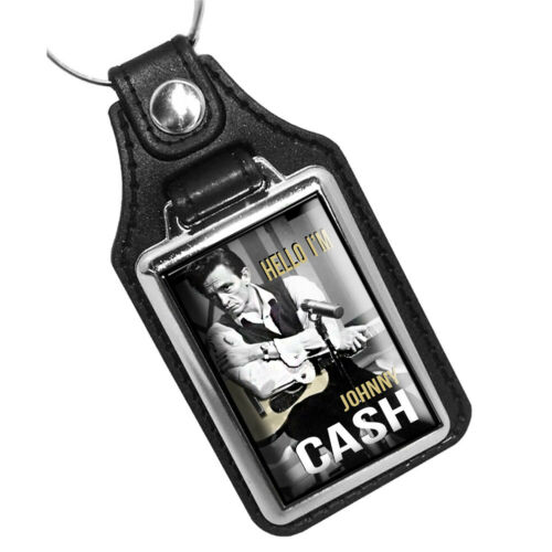 Country Singer Hello I/'m Johnny Cash Guitar Design Faux Leather Key Ring