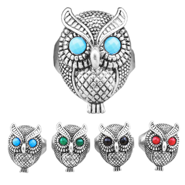 10pcs Mixed Color Cute Owl Rings Wholesale Lot  Antique Silver Plated Jewelry