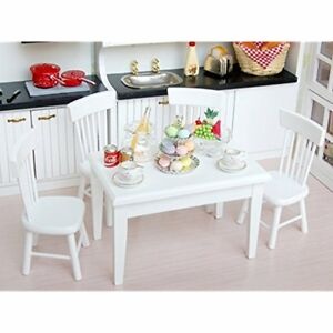 US 5pcs White Dining Room Table Chair Set for 1:12 Dollhouse Miniature Furniture 629768691253