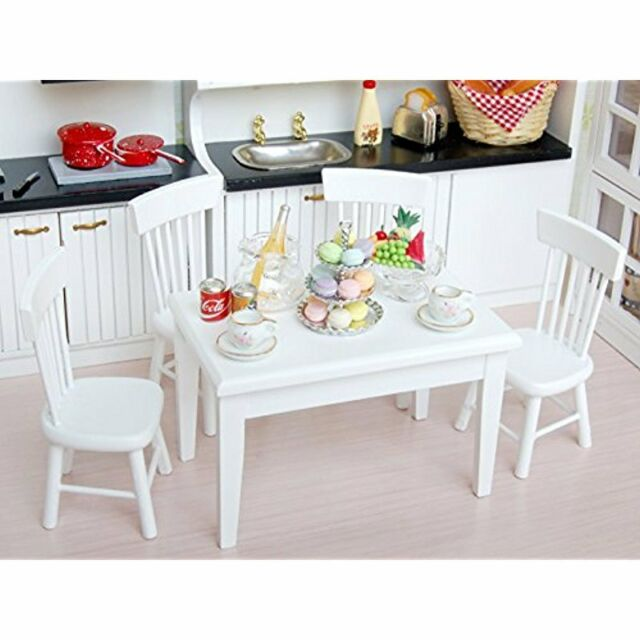US 5pcs White Dining Room Table Chair Set for 1:12 Dollhouse Miniature Furniture
