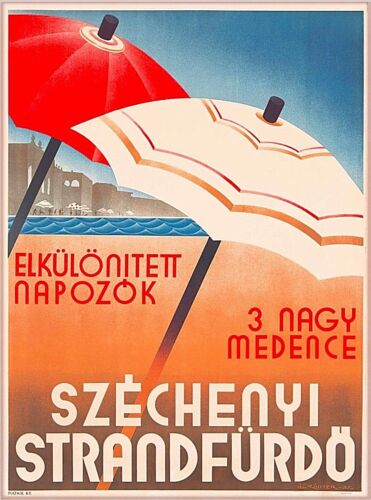 Budapest Széchenyi Spa Hungary Hungarian Vintage Travel Advertisement Poster