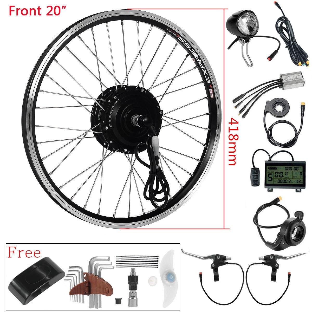 Frente 36V250W 20  E-Bike Motor Bicicleta eléctrica kit de conversión de Motor Hub Negro