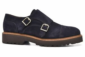 1291ebdc1dce Image is loading Alpe-30351128-Double-Monk-Strap-Navy-Suede-Shoes