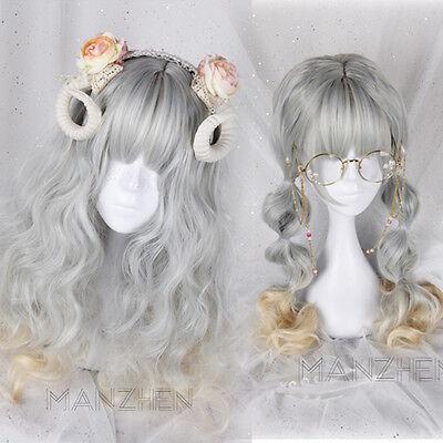 Japanese Harajuku Gothic Lolita Mori girl curly Long Gray Gradient Cosplay Wig