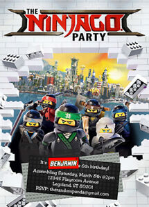 Details About Lego Ninjago Invitation Party Birthday Invite