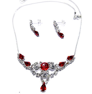 Wholesale Jewerly Lot Red Rhinestone Necklace Earring 6 Sets Prom Bridal Pageant
