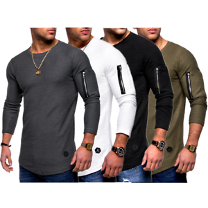 Muscle-Men-039-s-Crew-Neck-Zipper-Long-Sleeve-Casual-Tops-Shirts-Slim-Skinny-T-shirt