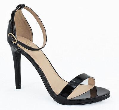 Black Faux Leather Buckle Straps Open Toe High Heel Dress Sandal Delicious