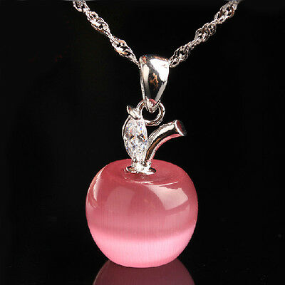Pink 925 Sterling Silver Apple Shape Cat's Eye Stone CZ Cyrstal Pendant Wedding