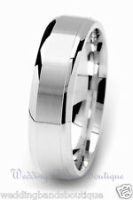 18K White Gold Men's Wedding Ring Mans Mens Satin Flat Comfort Fit Band 6mm
