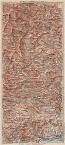 BARCELONNETTE-NICE.Isola Allos Auron.Alpes-De-Haute-Provence/Maritimes 1923 map