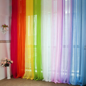 Details about Translucent Voile Curtains/Drapes Bedroom Window Plain Colour  Net Curtain Panels