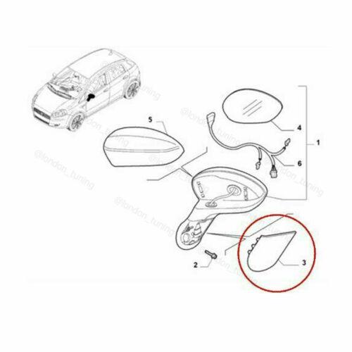 EVO Right Hand For Fiat Grande  Punto Offside Mirror Screw Cover Trim New