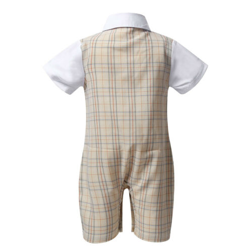 Infant Bay Boy Bowtie Waistcoat Gentleman One-piece Romper Jumpsuit Formal Cloth