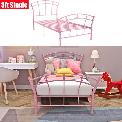 Pour Filles Enfants Classique Moderne Rose Métal Cadre de lit simple 3 FT environ 0.91 m