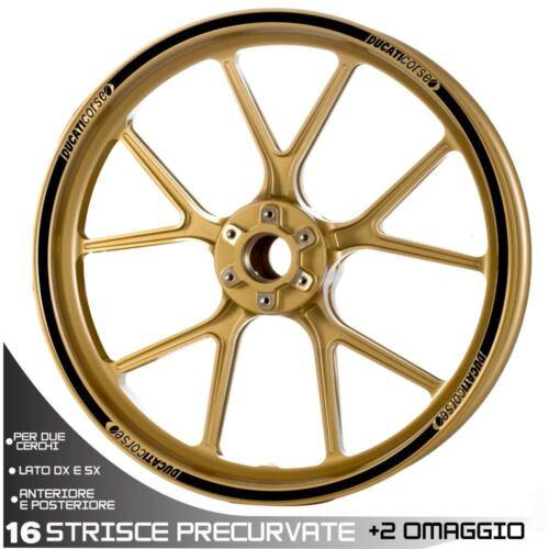 Set Profils Roue Wheel Adhésifs Spécifiques Ducati Corse 17 Noir Bandes Set