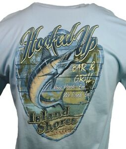 Men-039-s-T-shirt-034-Hooked-Up-034-Bar-amp-Grill-Fishing-Sailing-Bahama-Island-Shores-NWT