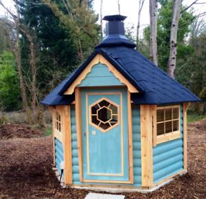 4 5m Grillkota Wooden Hut Garden House Log Cabin Kids Play House Ebay