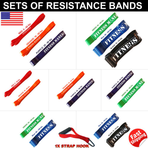 Powerlifting Resistance bands Set Trainers Pull Up Assist Mobility /& Gym Bands