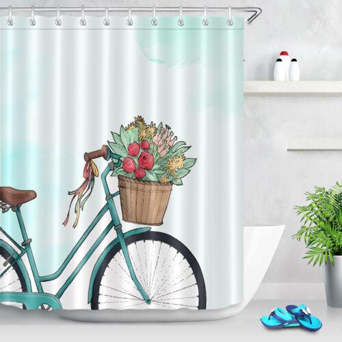 Vintage Retro Bike Digital Print Shower Curtain Rustic Blue Bicycle Bath Decor