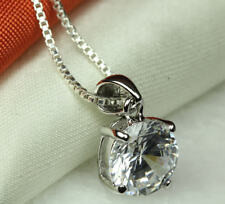CLEAR CZ STERLING SILVER 925 ROUND PENDANT-APRIL BIRTHSTONE-BSS-CLEAR-PEN~MAXXF❤