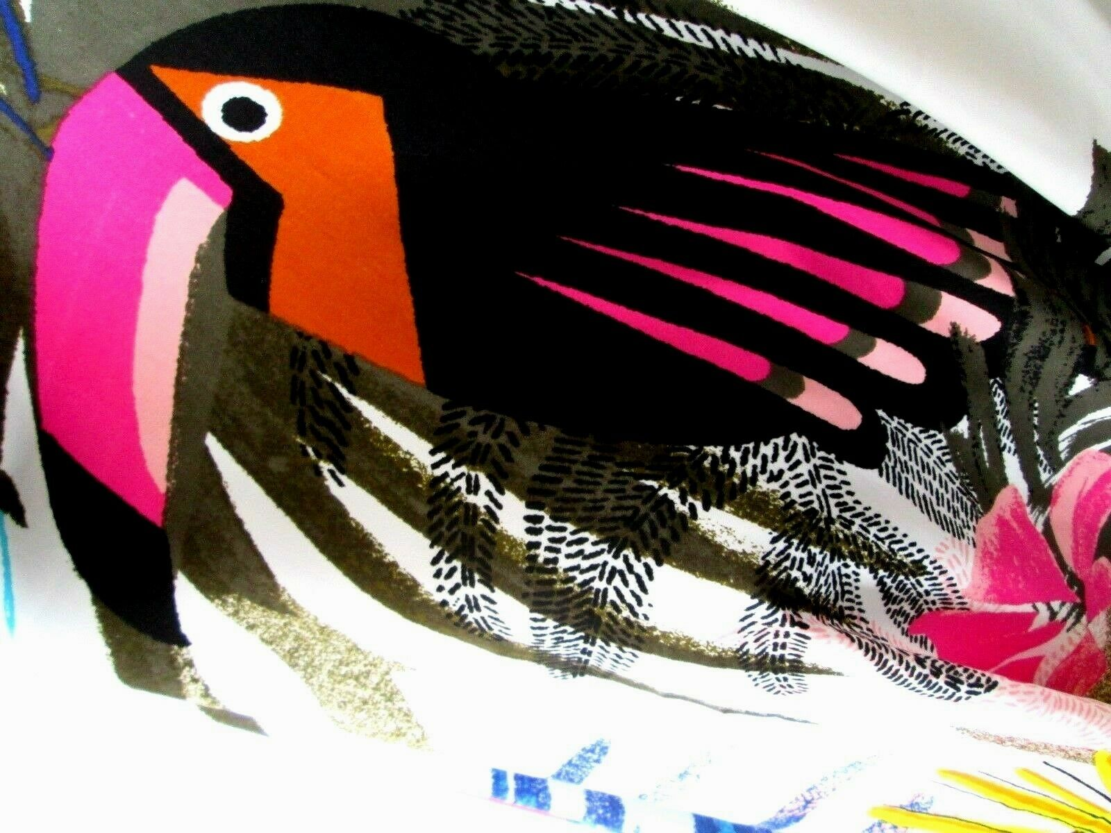 A NEW DAY Multi Colored Scarve W/ Toucan & Four Tassels Ends 38 X 40 SCARVE NWT