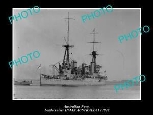 OLD-LARGE-HISTORIC-PHOTO-OF-AUSTRALIAN-NAVY-SHIP-HMAS-AUSTRALIA-I-c1920