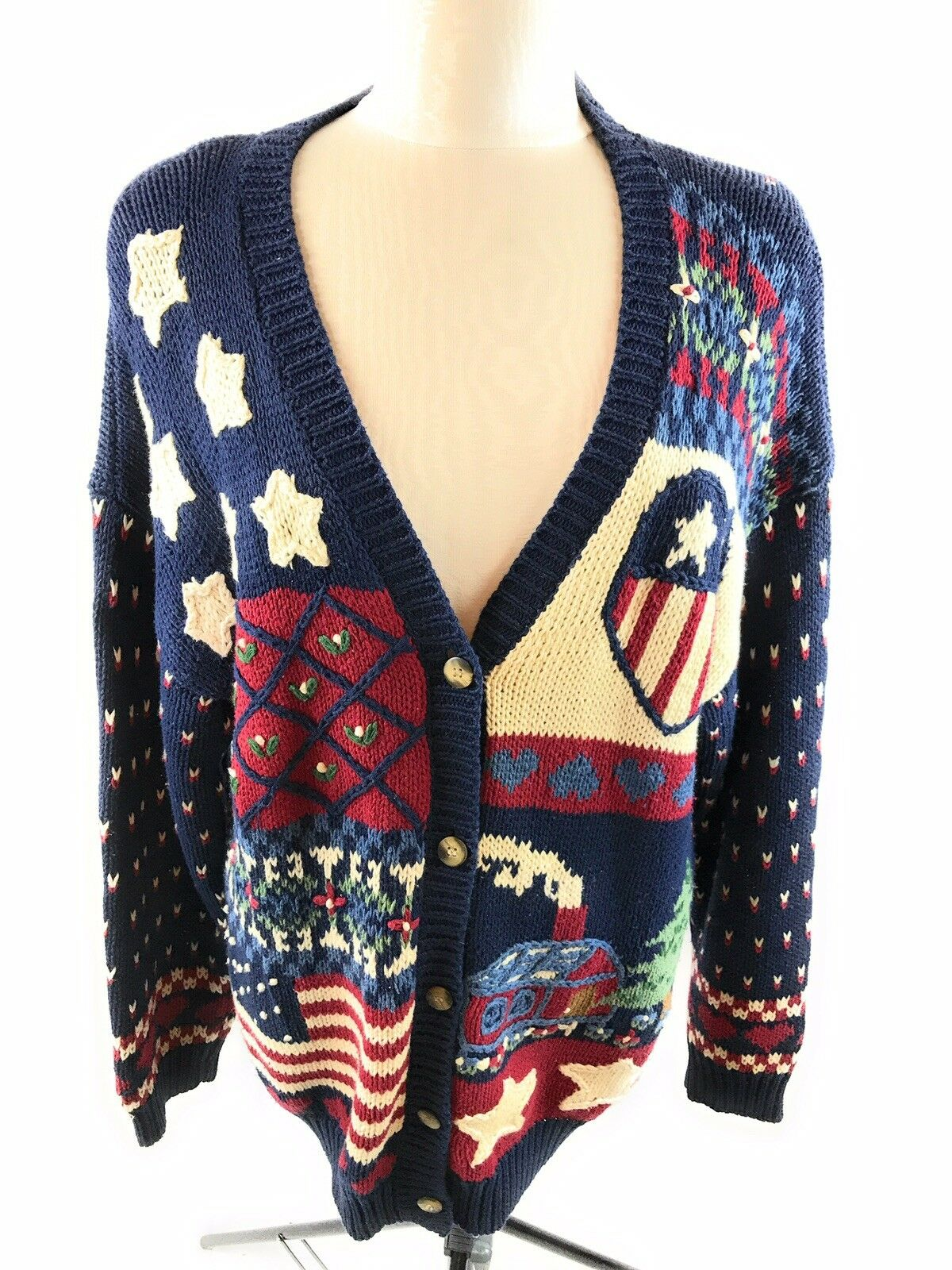 Cape Isle Knitters Women's Patriotic Cardigan Sweater Size Large