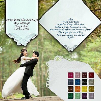 Personalised Wedding Fazzoletto Angolo A Farfalla 100% Cotone Ricamato Poesia-