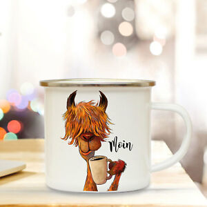 Willensstark Enamel Cup Camping Mug With Quote Saying Moin Coffee Mug With Llama Motives Eb48 Auf Dem Internationalen Markt Hohes Ansehen GenießEn Büro & Schreibwaren