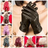 Women's Winter Warm Genuine Lambskin Leather Driving Soft Lining Gloves Fashion