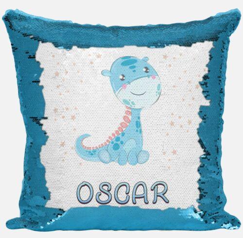 Personnalisé Dinosaure tout nom magique de révéler à Paillettes Housse De Coussin Cadeau Bleu
