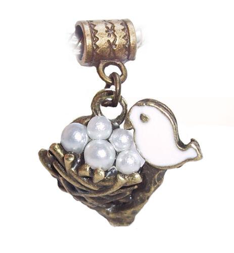 Bird Nest Pearl Eggs Bronze White Brown Dangle Charm for European Bead Bracelets