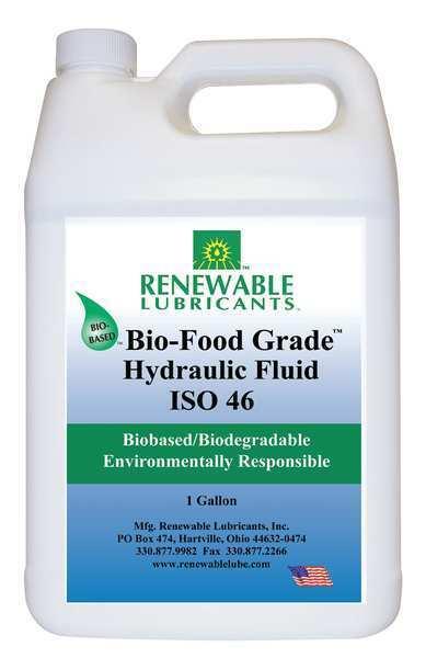 RENEWABLE LUBRICANTS 87133 Bio-Food Grade Hydraulic Fluid, 1 gal., ISO 46