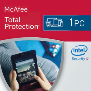 Mcafee total protection 2019 1pc windows 1 year antivirus pc.