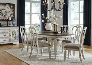 Traditional Antique White & Brown 7pcs Oval Dining Room Table & Chairs Set IC07