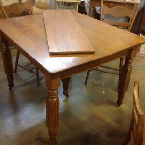 Details about Antique Oak 5 Leg Farm Dining Table Nice Original finish 42 x  36 plus 12\