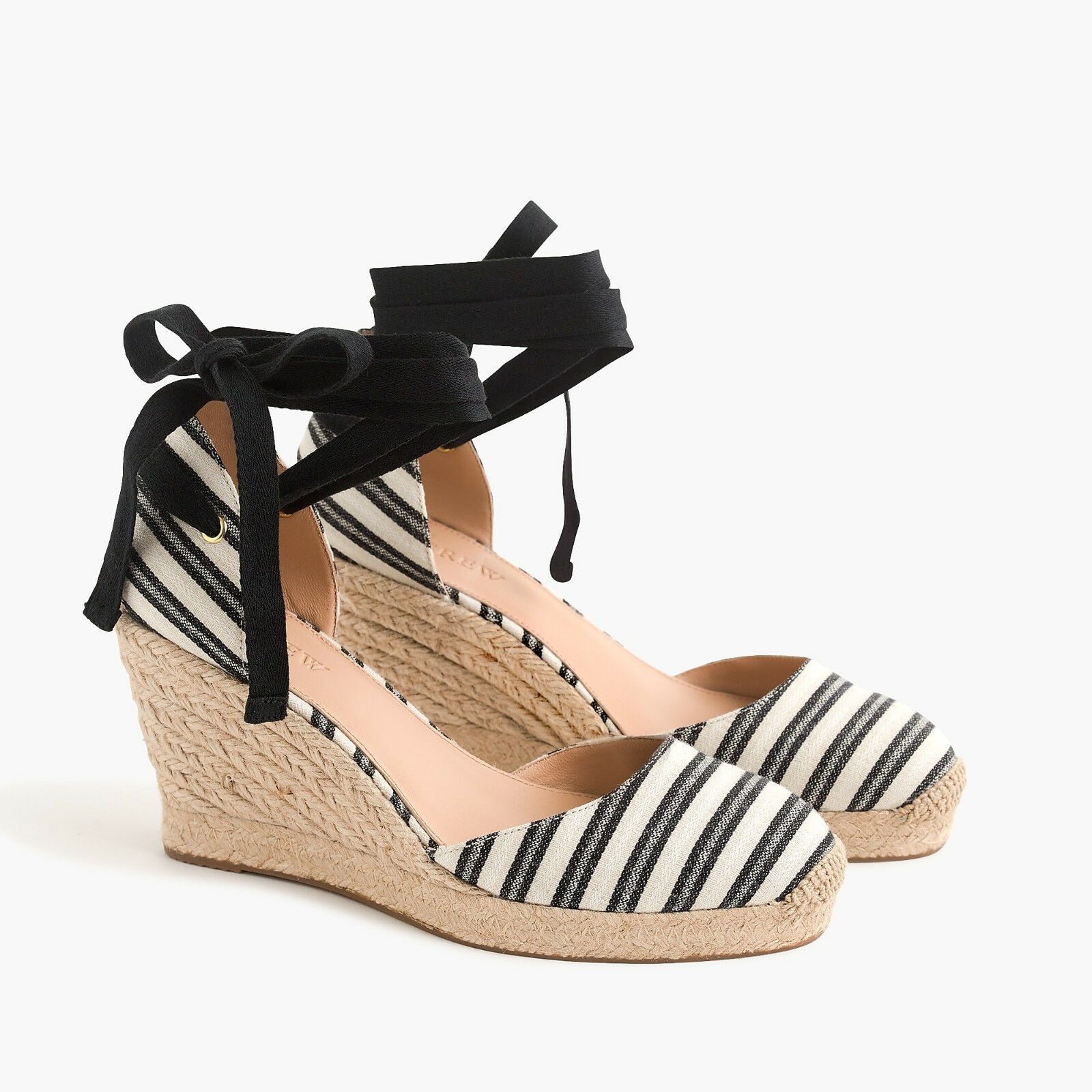 New in Box J Crew Women Espadrille Wedges With With Wedges Ankle Wrap in Stripe Size 7.5M c4af36