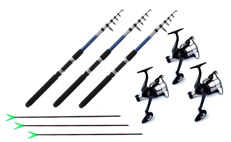 Anguilla Trossoa Pesca 3 x stadia 3 x ruolo 3 x corda e 3 x supporto canne da pesca nuovo