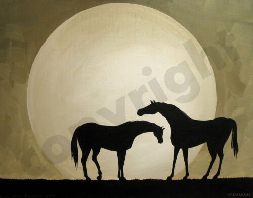 Horse mare rest love sweet moon art Criswell ACEO Giclee print of painting gift