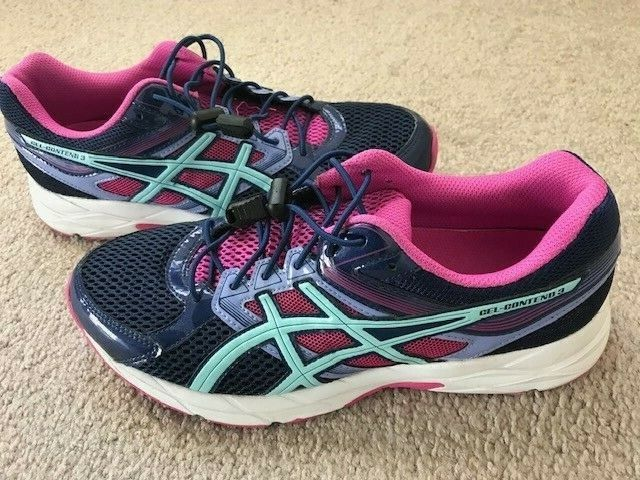 Asics Gel Contend 3 femmes's Taille 8 1 2 Running chaussures T5F9N violet rose EUC