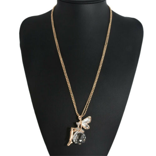 Fashion Women Crystal Fairy Angel Wing Necklace Long Chain Sweater Pendant Gift