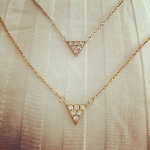 """Sterling Silver 925 Simple CZ tiny 18/"""" Triangle Necklace"""
