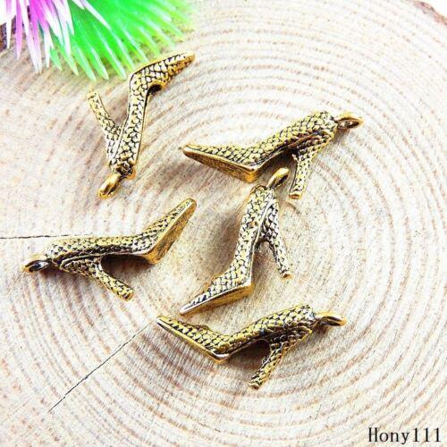 60x Vintage Oro Aleación de taco alto artesanías Colgantes Encantos resultados 51173