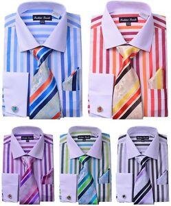 Men-039-s-French-Cuff-Striped-Dress-Shirt-w-Matching-Tie-amp-Hanky-Set-629