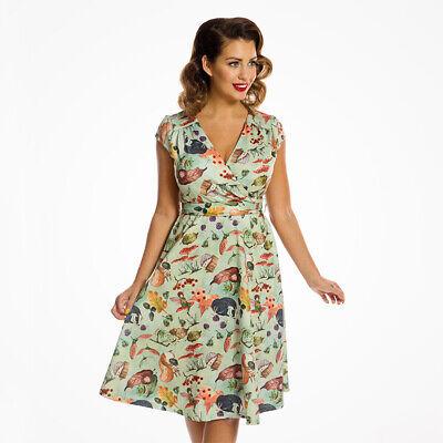 Lindy Bop /'Kody/' Adorable Vintage Bluebirds Print Garden Party Dress BNWT Sz 12