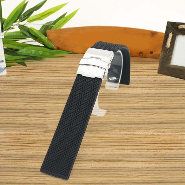 Faltschließe Armband Schwarz Silikonkautschuk Wasserdicht Uhrenarmband Bands