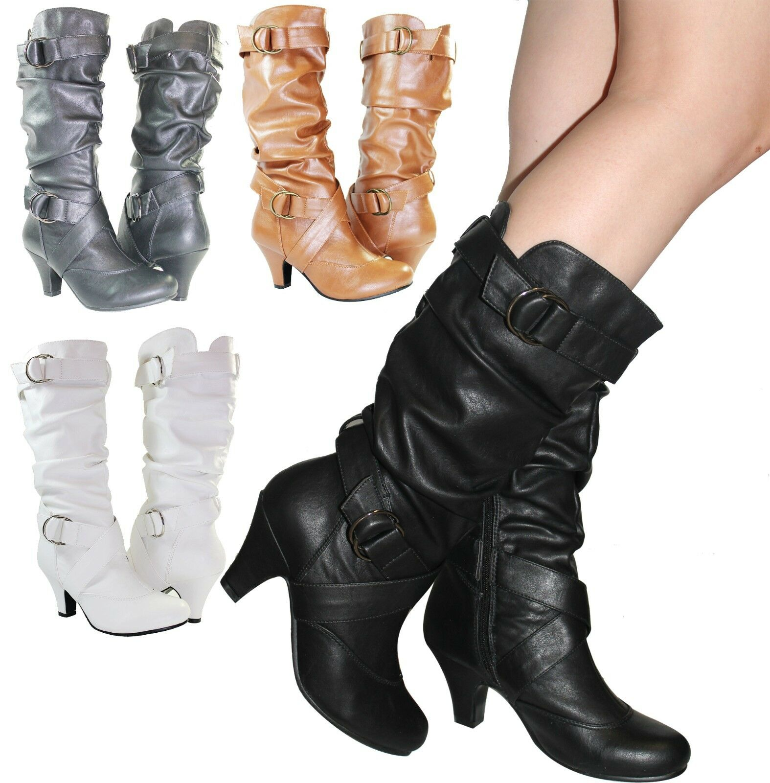 Women Boots Kitten Heels Style Fashion Mid Calf Slouch Faux Leather Cross Design